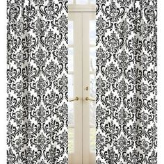 One pair black and white damask curtains by LuxuryLinenLoft