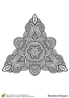 Coloriage mandala ethnique, triangle celtique - Hugolescargot.com