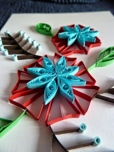 quilling card flowers, handmade with paper