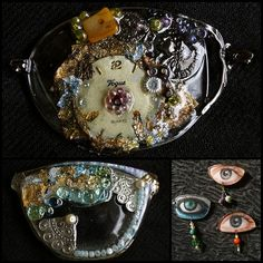 DIY Inspiration: Recycled Eyeglass Lenses Turned Into Jewelry. Jewelry from Lenio Diamant Jewelry Crafts, Jewelry Art, Jewlery, Jewelry Ideas, Recycling, Eyeglass Lenses, Diy Inspiration, Diy Schmuck, Recycled Glass