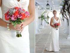 coral and pink bridal bouquet for a destination wedding at the Grand Cayman Beach Suites