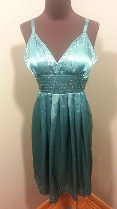 XX! Forever 21 Teal Blue Sequin Trimmed Sleeveless Satin Evening Party Dress L  #XXForever21 #Sleeveless #Clubwear