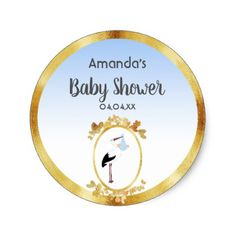 Baby Shower with gold frame and stork white blue Classic Round Sticker - elegant gifts gift ideas custom presents
