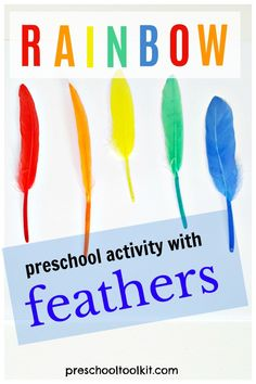 Promote sorting and counting activities with feathers. It's easy to set up a sensory play activity with feathers in the colors of the rainbow for toddlers and preschoolers. #kidsactivities #playandlearn Rainbow Activities, Counting Activities, Rainbow Crafts, Activities For Kids, Play Activity, Sensory Play, Toddler Preschool, It's Easy, Sorting