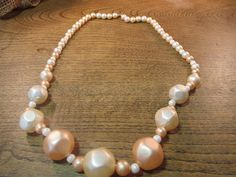 Vintage Peachy Pink Cream Beaded Necklace by ChickenCoopVintage, $9.59