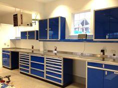 Moduline blue aluminum garage storage cabinets