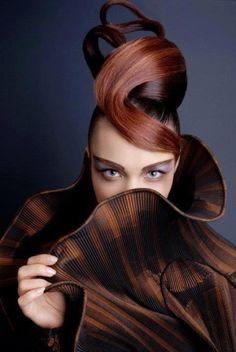 futuristic fashion, futuristic look, future fashion, eyes, direct look, direct view, hair style,strange hair, amazing hair, hairstyle, broun by FuturisticNews.com