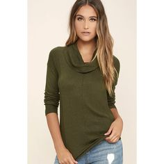 Olive & Oak Snuggle Season Olive Green Sweater Top featuring polyvore, women's fashion, clothing, tops, sweaters, green, long sleeve knit sweater, brown cowl neck sweater, knit sweater, brown sweater and slouchy sweater