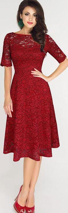 Elegant Floral Lace Short Sleeve Scoop Knee-Length Dress
