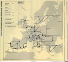 Infographic map of Europe, Corporate identity for West German airline Lufthansa