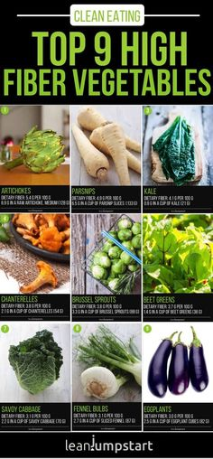 Protein Foods List, Best Protein, High Protein Recipes, High Fiber Veggies, Fiber Fruits, Raw Vegetables, Different Vegetables, High Fiber Foods List, High Fiber Meals