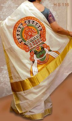 Kathakali Face Design Print on Off White with Golden Colour Border Kerala Sarees Images. Traditionally and Beautiful Saree Pallu is Hand P. Saree Painting Designs, Fabric Paint Designs, Painting Patterns, Dress Painting, Fabric Painting, Fabric Art, Kerala Mural Painting, Madhubani Painting, Kathakali Face