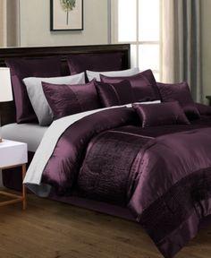 Hallmart Collectibles Kellen King Comforter Set - Bed in a Bag - Bed & Bath - Macy's Luxury Comforter Sets, Cheap Bedding Sets, Queen Bedding Sets, Queen Comforter Sets, Plum Bedding, Purple Comforter, Purple Bedding Sets, Bed Sets, Bedroom Styles