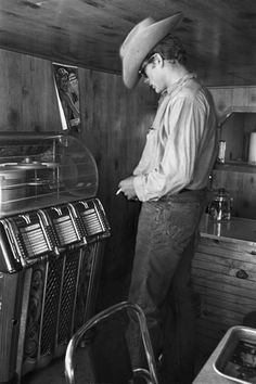 James Dean the Giant selecting a song on a jute box
