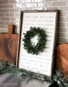 silent night lyrics framed sign (wreath sold separately) - A - A SIGNS Wooden Christmas Decorations, Christmas Signs Wood, Farmhouse Christmas Decor, Country Christmas, Winter Christmas, Holiday Signs, Christmas Countdown, Cricut, Creation Deco