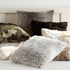 Faux Fur Pillow Covers, Polar Bear Ivory