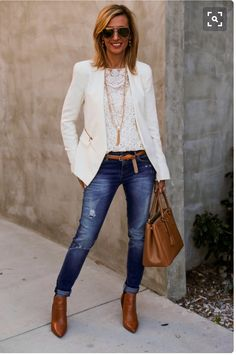 Ooh! Love the lace top with the white blazer