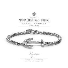Gioielli uomo bracciale neptune argento made in Italy designed Alessandro Magrino per maria cristina sterling