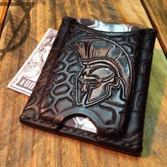 "Hand tooled leather wallet The ""Kryptek Spartan"""