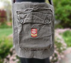 Upcycled Cargo Pants Messenger Bag, Crossbody  Cargo Bag, Grey