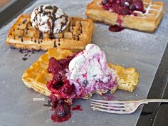 Warm Deeghuys Brussels Waffles topped with your favourite from the new Ripple Full Cream Ice Cream Range by Deeghuys. Waffle Toppings, Home Baking, Brussels, Waffles, Ice Cream, Range, Warm, Canning, Breakfast