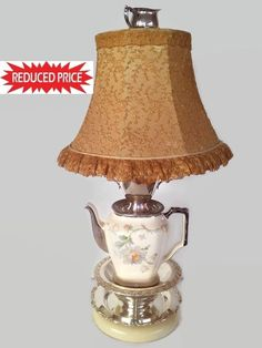 """Price Reduced !!Unique Silver Plate Teacup Lamp 24"""" Tall. Buy 1 get 2nd 30% Off #ArtModerne #Handmade100"""