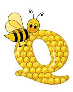 Alphabet letters bee on honeycomb. Alfabeto Animal, Scrapbook Letters, Bumble Bee Birthday, Spelling Bee, Bee Party, Alphabet And Numbers, Alphabet Letters, Bee Design, Bee Theme