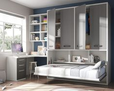 Dormitorio juvenil con cama abatible (168 – J55) - Muebles CASANOVA Small Space Bedroom, Small Rooms, Small Spaces, Dorm Design, Kids Room Design, Closet Bedroom, Kids Bedroom, Maids Room, Hidden Bed