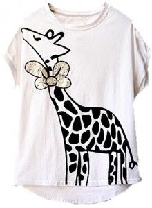 Giraffe Wearing Bow T-Shirt