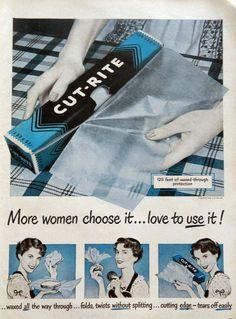 CUT-RITE Waxed Paper ad -- 1950s Vintage Kitchen Nostalgia blue kitchen decor housewife vintage cooking
