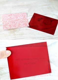 type message onto red designed paper. Hold red plastic over top and reveal the type.