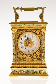 Champleve Enamel Decorated Carriage Clock