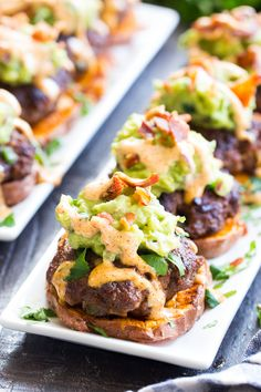 These sweet potato sliders are loaded with goodies! Taco-seasoned mini burger patties over roasted sweet potato buns topped with an easy guacamole chipotle ranch and crumbled bacon. Perfect as an appetizer party food or a fun meal! Paleo and Whole Food Recipes, Cooking Recipes, Healthy Recipes, Easy Cooking, Easy Whole 30 Recipes, Whole30 Dinner Recipes, Paleo Ideas, Cooking Pasta, Primal Recipes