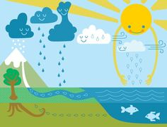 Cute board display of the water cycle.