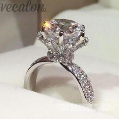 추진 94% Vecalon 약혼 웨딩 밴드 반지 3ct Cz 다이아몬드 반지 925 스털링 실버 여성 손가락 반지