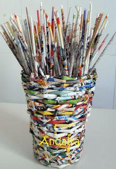 Andairadas: Cesto hecho de rollitos de papel Con LINK a TUTORIAL