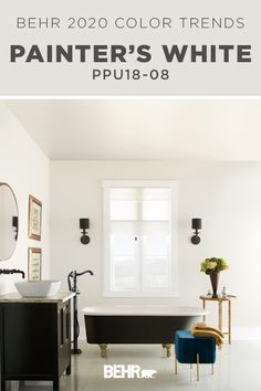 Part of the BEHR® 2020 Color Trends Palette, BEHR® Paint in Painters White is a soft and composed gray-white, creating an elegant expression. When paired with dark black furniture and chic gold…More Off White Paint Colors, Off White Paints, Best White Paint, Neutral Paint Colors, Paint Colors For Home, Behr Paint Colors, Bedroom Paint Colors, Black Furniture, Log Homes