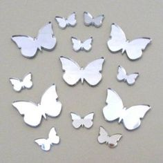 """Amazon.com: Butterfly Big Wings Mirrors Pack of 20 (Size of each butterfly 1.5"""" wide by 1.1"""" height) (3cm X 2cm): Home & Kitchen"""