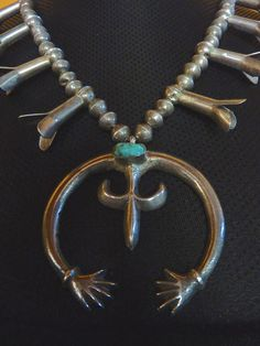 Extremely OLD Vintage Old Pawn Navajo Sterling Silver Squash Blossom Necklace w Sand Cast Naja & Fox Turquoise. Primitive and AWESOME!!!