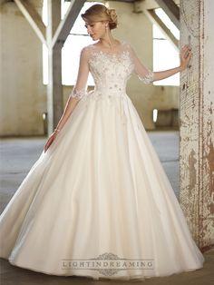 Illusion Boat Neckline Three-Quarter Sleeves Embellished Wedding Dresses - LightIndreaming