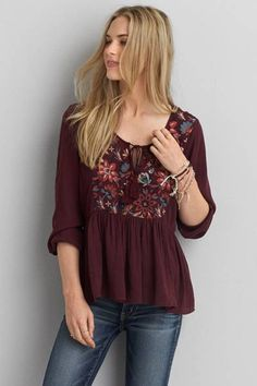 AEO Embroidered Peasant Top by AEO | Free fallin' – give your look a vintage vibe with pretty embroidery and a flowy fit. Shop the AEO Embroidered Peasant Top and check out more at AE.com.