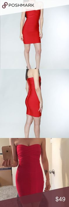 Red Bodycon Dress Red Strapless Bandage Bodycon Dress by my own clothing company called OTTAVRO. My own designs.  I have this dress in XS, S, M, L  The model is 110 lbs and wearing Size M  The model isn't for sale!!!  #red #dress #bodycon #christmas #newyear #outfits #clothing #clothes Ottavro Dresses Strapless