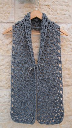 Free Crocheted Chunky Lacy Quick Scarf pattern- this could be a cute cowl too!