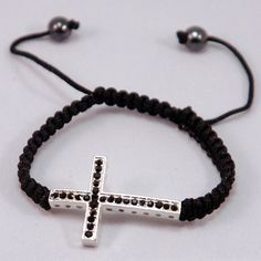 Black Woven Black Cross Cord Friendship Bracelet