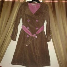 Corduroy Coat Beautiful, practical and stylish corduroy Brown coat with pink accents. No pockets. Used but in excellent condition. Sooki des L.A. Jackets & Coats Trench Coats