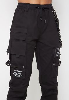 Chain Detail Cargo Pants - Black - Source by -