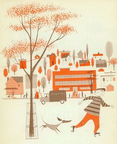 Just gorgeous! ~ This is a Town illustrated by Robert J. Lee, written by Polly Curren, 1957.