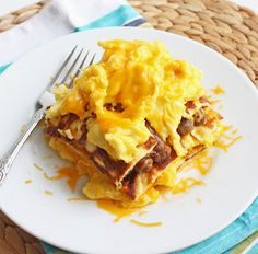 """Low Carb Breakfast Lasagna - the eggs and sausage are naturally low (or zero) carb, so the key to this lasagna is the cream cheese pancakes used as """"noodles.""""  This is an intriguing recipe that we'll be trying this week!"""