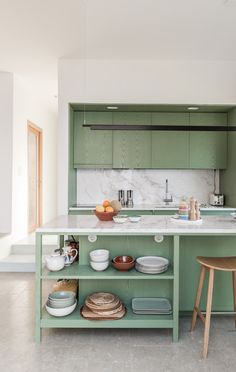 We're still in love with this MDF and ash veneer kitchen painted in a warm green to match the Greek landscape outside 💚 Pick up the May/June 2019 to see more. Kitchen Paint, Kitchen Tiles, Home Decor Kitchen, Kitchen Interior, Kitchen Furniture, Green Kitchen, Kitchen Colors, Kitchen Layout, Kitchen Design