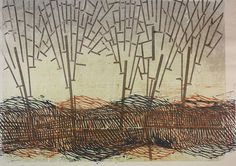 """Charles Spitzack - Woodblock  """"Trees in windy grass"""""""